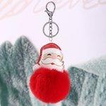 chave cadeia imitação multicolor saco senhoras de cabelo coelho carro pingente de Natal venda quente PU couro Papai Noel bola