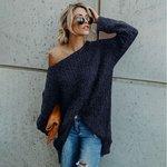 Tops Mulheres Outono Inverno Sólidos pulôver Cor Tops Plush de mangas compridas em torno do pescoço do ombro da camisola