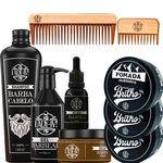 Kit Barber Shop Personalizado Com Pentes Oleo Shampoo Bolsinha Jeans