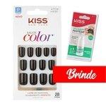 Unhas Postiças Kiss NY Salon Color Kit com 28 unhas - ganhe cola de unha